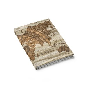 Vintage Style World Map Journal – Ruled Line